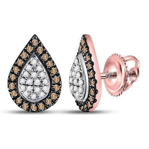 10kt Rose Gold Womens Round Brown Color Enhanced Diamond Teardrop Cluster Earrings 1/5 Cttw