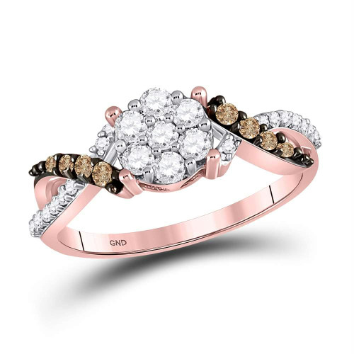 10kt Rose Gold Womens Round Brown Color Enhanced Diamond Cluster Ring 1/2 Cttw