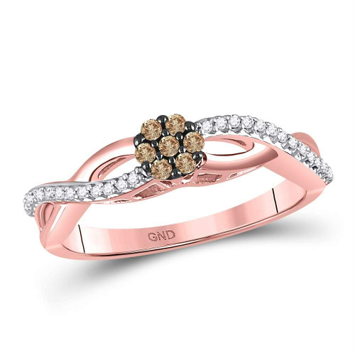 10kt Rose Gold Womens Round Brown Color Enhanced Diamond Cluster Twist Ring 1/6 Cttw