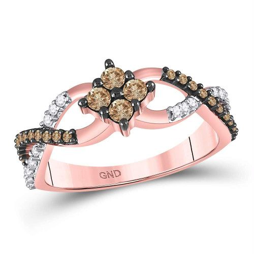 10kt Rose Gold Womens Round Brown Color Enhanced Diamond Cluster Twist Ring 1/2 Cttw