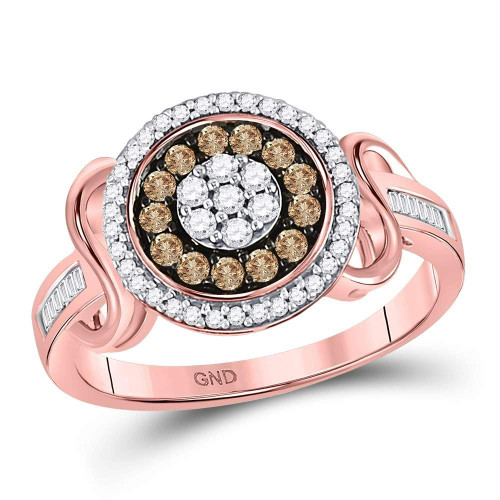 10kt Rose Gold Womens Round Brown Color Enhanced Diamond Flower Cluster Ring 1/2 Cttw - 130025