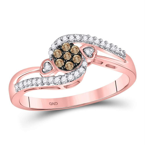 10kt Rose Gold Womens Round Brown Color Enhanced Diamond Cluster Double Heart Ring 1/6 Cttw