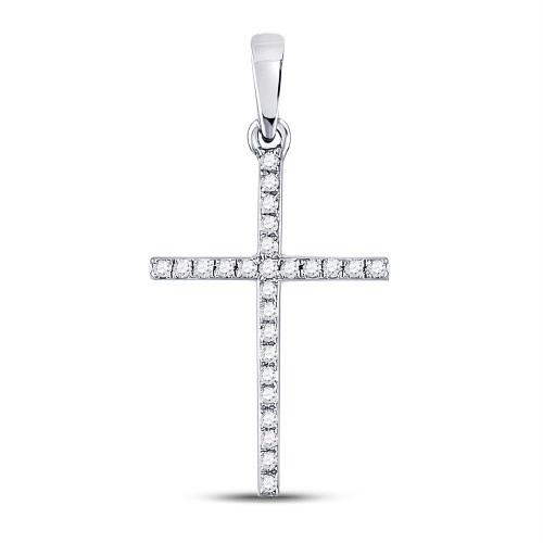 10kt White Gold Womens Round Diamond Roman Cross Faith Pendant 1/6 Cttw
