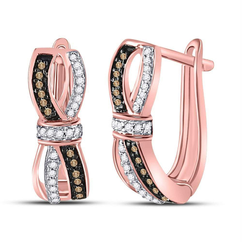 10kt Rose Gold Womens Round Brown Color Enhanced Diamond Bound Double Row Hoop Earrings 1/5 Cttw