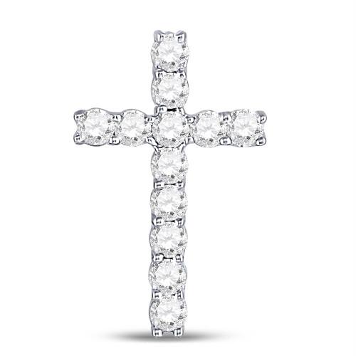 10kt White Gold Womens Round Diamond Roman Cross Pendant 1/5 Cttw