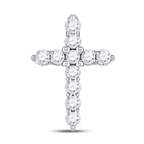 10kt White Gold Womens Round Diamond Dainty Cross Pendant 1/10 Cttw