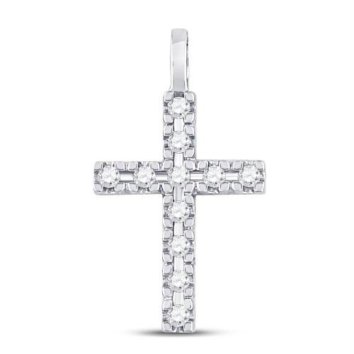 10kt White Gold Womens Round Diamond Cross Faith Pendant 1/4 Cttw - 130045