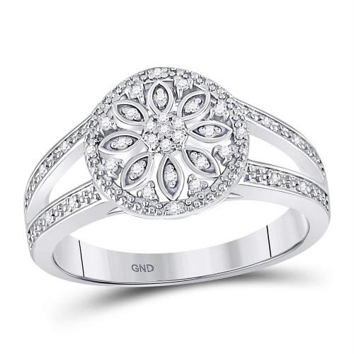 Sterling Silver Womens Round Diamond Flower Cluster Petals Milgrain Ring 1/10 Cttw