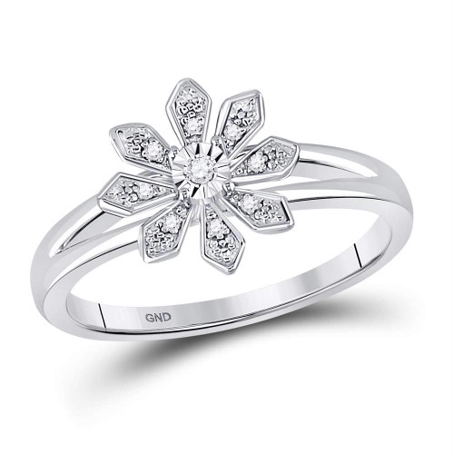 Sterling Silver Womens Round Diamond Flower Petals Solitaire Fashion Ring 1/20 Cttw