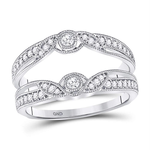 14kt White Gold Womens Round Diamond Flower Petals Ring Guard Enhancer Wedding Band 1/3 Cttw