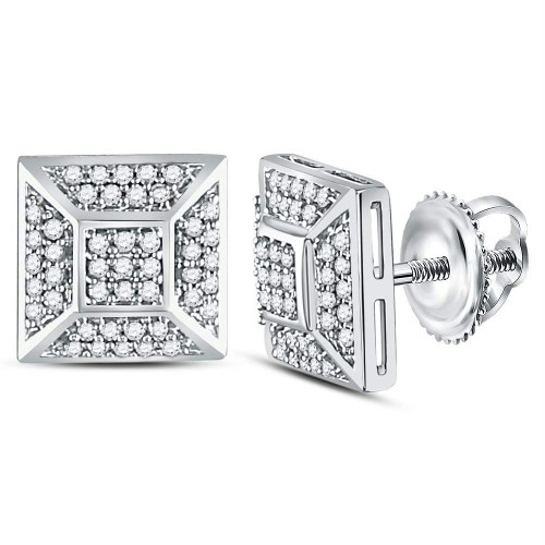 10kt White Gold Mens Round Diamond Square Cluster Stud Earrings 1/5 Cttw - 120797