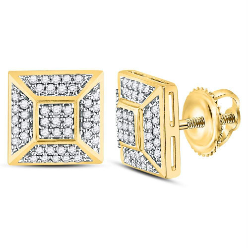 10kt Yellow Gold Mens Round Diamond Square Cluster Stud Earrings 1/5 Cttw - 120798