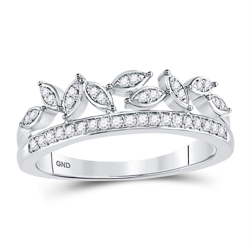 10kt White Gold Womens Round Diamond Floral Leaf Fashion Band Ring 1/6 Cttw