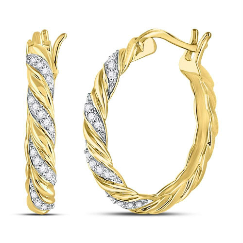 10kt Yellow Gold Womens Round Diamond Spiral Stripe Hoop Earrings 1/10 Cttw