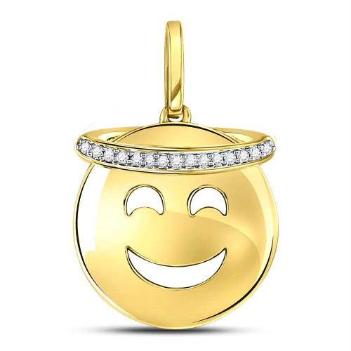 10kt Yellow Gold Womens Round Diamond Smiley Face Halo Emoji Pendant 1/20 Cttw