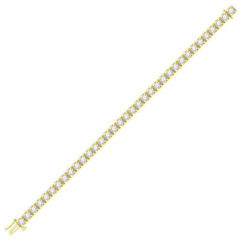 14kt Yellow Gold Womens Round Diamond Tennis Bracelet 5.00 Cttw