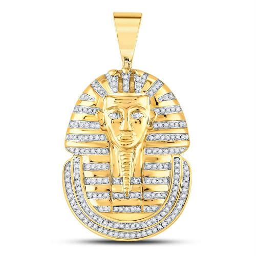 10kt Yellow Gold Mens Round Diamond Pharaoh Face Charm Pendant 5/8 Cttw