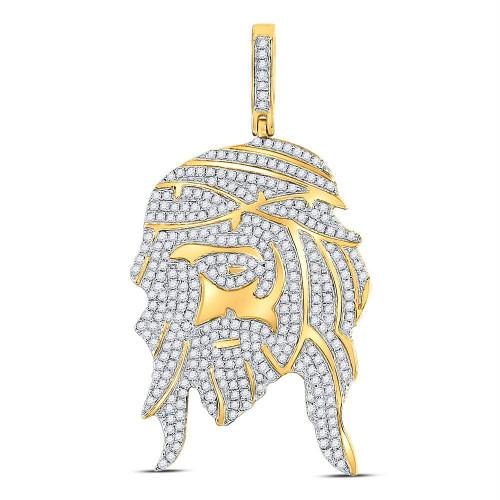 10kt Yellow Gold Mens Round Diamond Jesus Christ Face Charm Pendant 1-1/4 Cttw - 120428
