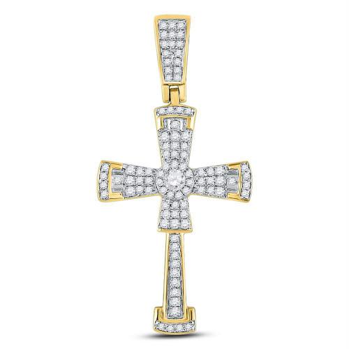 10kt Yellow Gold Mens Round Diamond Flared Cross Crucifix Charm Pendant 1/2 Cttw