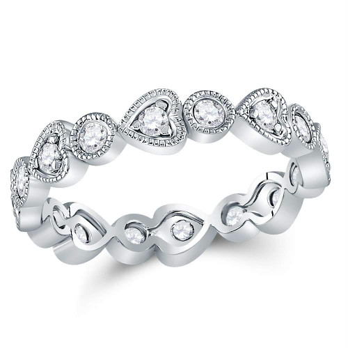 10kt White Gold Womens Round Diamond Heart Eternity Band Ring 3/8 Cttw - 120473