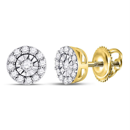 14kt Yellow Gold Womens Round Diamond Circle Frame Stud Earrings 1/4 Cttw