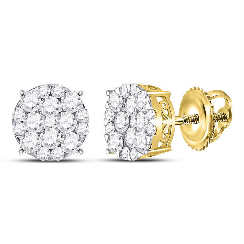 14kt Yellow Gold Womens Round Diamond Circle Cluster Earrings 1.00 Cttw