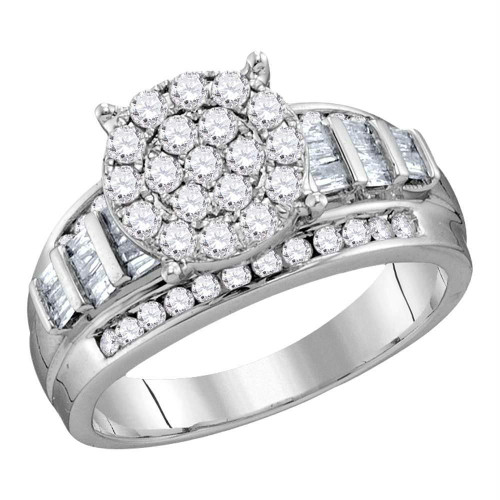 10kt White Gold Womens Round Diamond Cluster Bridal Wedding Engagement Ring 2.00 Cttw - 120245
