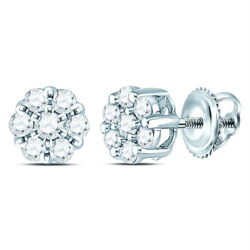 14kt White Gold Womens Round Diamond Flower Cluster Earrings 1/4 Cttw - 120316
