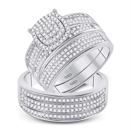 10kt White Gold His & Hers Round Diamond Cluster Matching Bridal Wedding Ring Band Set 5/8 Cttw - 148796