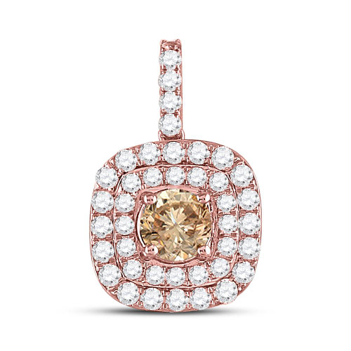 14kt Rose Gold Womens Round Brown Color Enhanced Diamond Solitaire Square Pendant 1.00 Cttw