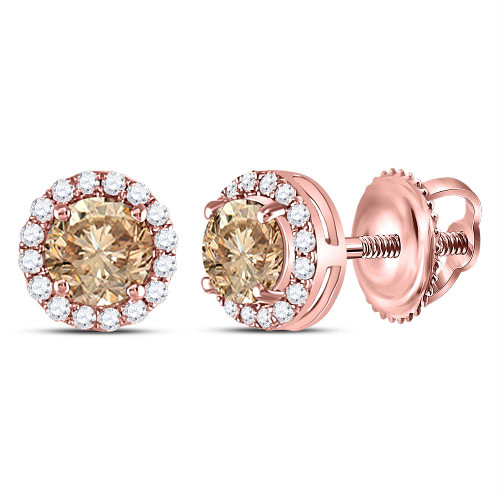 14kt Rose Gold Womens Round Brown Color Enhanced Diamond Stud Earrings 1.00 Cttw
