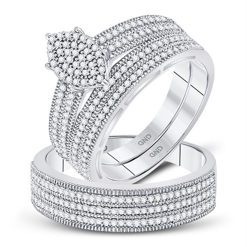 10kt White Gold His & Hers Round Diamond Marquise-shape Cluster Matching Wedding Ring Set 3/4 Cttw