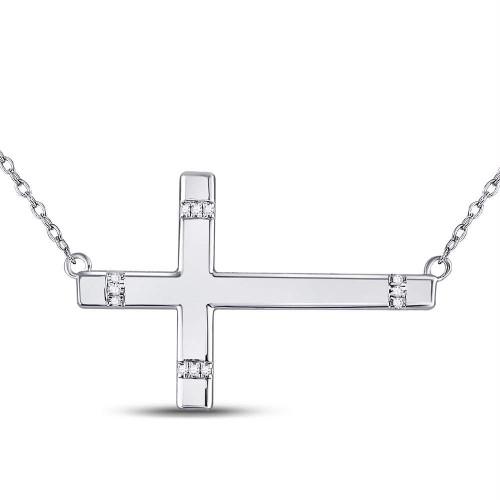 Sterling Silver Womens Round Diamond Horizontal Cross Sideways Necklace 1/20 Cttw