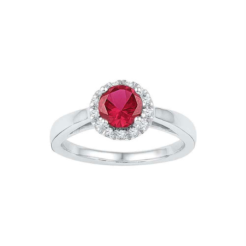 10k White Gold Womens Lab-created Ruby & Diamond Cocktail Ring 1-1/10 Cttw
