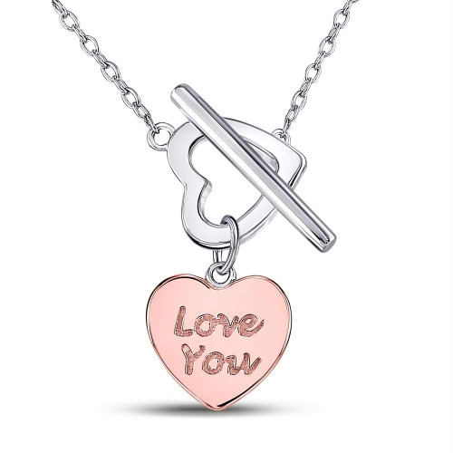 Rose-tone Sterling Silver Womens Round Diamond Heart Love You Pendant Necklace 1/10 Cttw