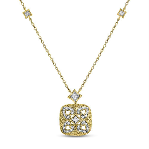 Yellow-tone Sterling Silver Womens Round Diamond Square Frame Fashion Necklace 1/10 Cttw