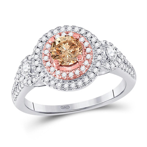 14kt Two-tone Gold Womens Round Brown Diamond Solitaire Bridal Wedding Engagement Ring 1.00 Cttw