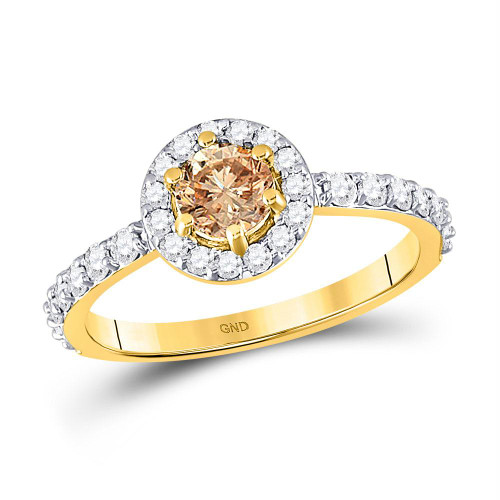 14kt Yellow Gold Womens Round Brown Diamond Solitaire Bridal Wedding Engagement Ring 1.00 Cttw