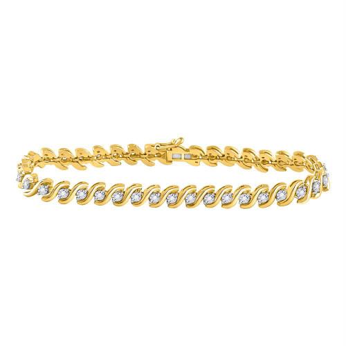 10kt Yellow Gold Womens Round Diamond Studded Tennis Bracelet 1/2 Cttw