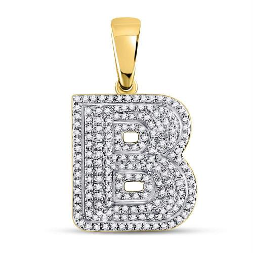 10kt Yellow Gold Mens Round Diamond Letter B Bubble Initial Charm Pendant 1/2 Cttw