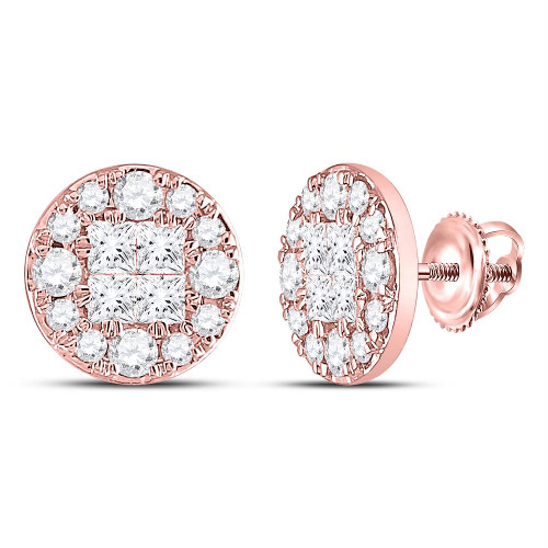 14kt Rose Gold Womens Princess Round Diamond Soleil Cluster Earrings 1/2 Cttw - 128669