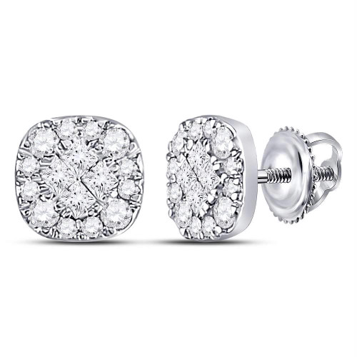 14kt White Gold Womens Princess Round Diamond Soleil Cluster Stud Earrings 1/4 Cttw - 128643