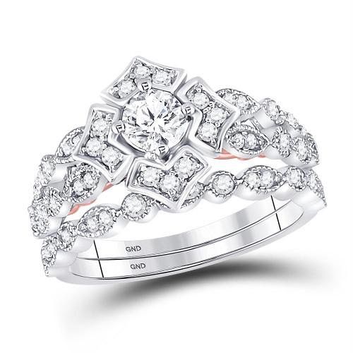 14kt Two-tone Gold Womens Round Diamond Bellina Bridal Wedding Engagement Ring Band Set 3/4 Cttw - 128623