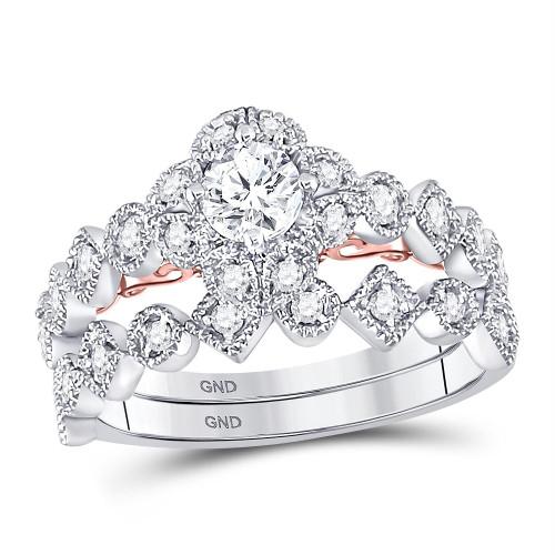 14kt Two-tone Gold Womens Round Diamond Bellina Bridal Wedding Engagement Ring Band Set 3/4 Cttw - 128625