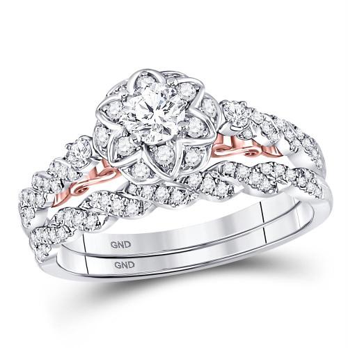 14kt Two-tone Gold Womens Round Diamond Bellina Bridal Wedding Engagement Ring Band Set 3/4 Cttw - 128627