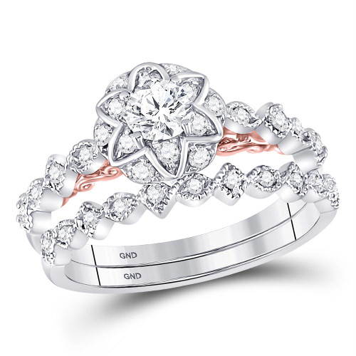 14kt Two-tone Gold Womens Round Diamond Bellina Bridal Wedding Engagement Ring Band Set 3/4 Cttw - 128629