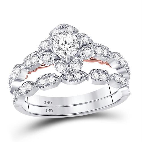 14kt Two-tone Gold Womens Round Diamond Bellina Bridal Wedding Engagement Ring Band Set 3/4 Cttw - 128621