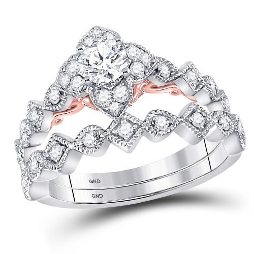 14kt Two-tone Gold Womens Round Diamond Bellina Bridal Wedding Engagement Ring Band Set 5/8 Cttw