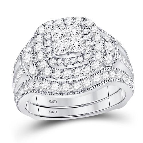 14kt White Gold Womens Princess Diamond Milgrain Ring Guard Bridal Wedding Ring Set 2.00 Cttw