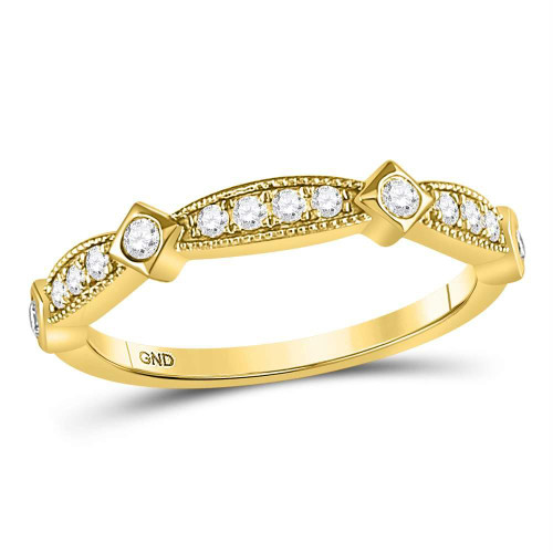 10kt Yellow Gold Womens Round Diamond Milgrain Pinched Band Ring 1/4 Cttw